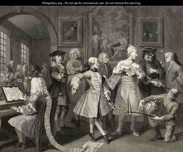 Surrounded by Artists and Professors plate II from A Rakes Progress - William Hogarth