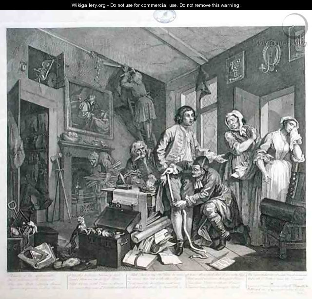 The Young Heir Takes Possession of the Misers Effects plate I from A Rakes Progress 2 - William Hogarth
