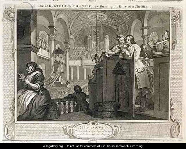 The Industrious Prentice Performing the Duty of a Christian plate II of Industry and Idleness - William Hogarth