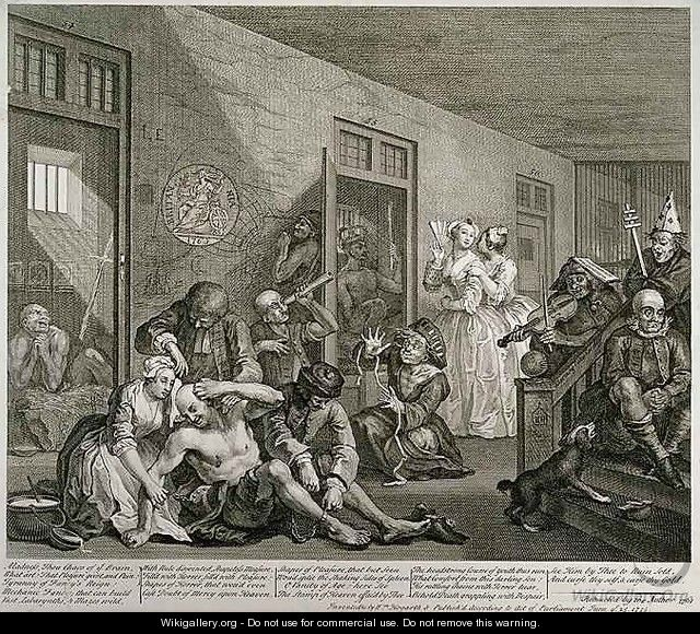 Plate VIII from A Rakes Progress - William Hogarth