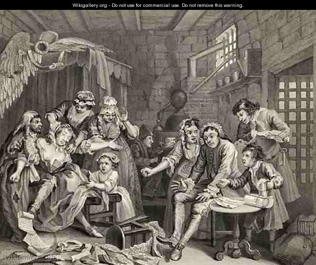 The Prison Scene plate VII from A Rakes Progress from The Works of William Hogarth - William Hogarth