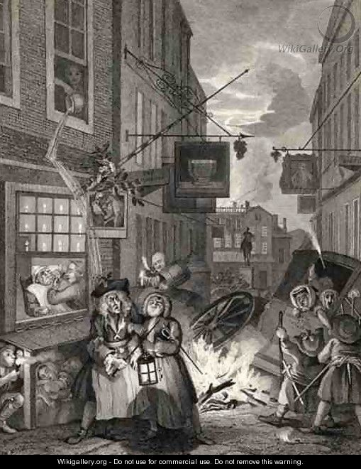 Times of the Day Night from The Works of William Hogarth - William Hogarth