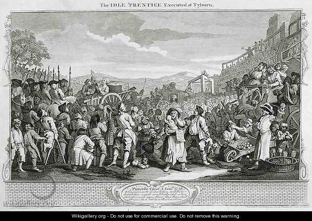 The Idle Prentice Executed at Tyburn plate XI of Industry and Idleness - William Hogarth
