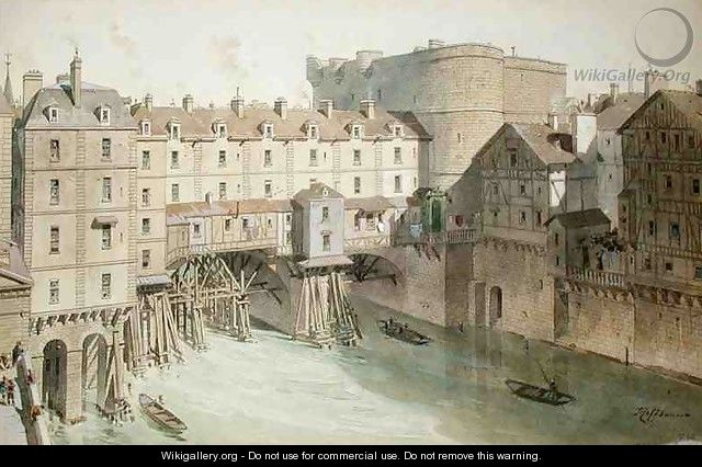 View of Petit Chatelet and the Petit Pont in 1717 - (after) Hoffbauer, Theodor Josef Hubert