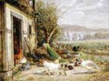 Chickens Ducks and a Peacock by a Canal - Anton Hoffmann