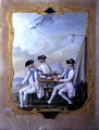 Officers from the Forez Bearn and Agenais Regiments playing cards - Nicolas Hoffmann