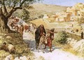 David fleeing from Jerusalem is cursed by Shimei - William Brassey Hole