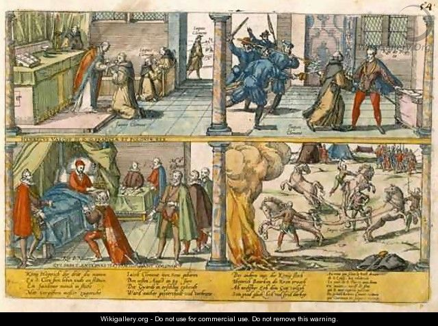 The Assassination of Henri III 1551-89 and the execution of his killer Jacques Clement 1564-89 2 - Franz Hogenberg