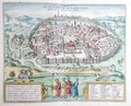 View of Jerusalem from the Atlas Le Theatre des Cites du Monde by Georg Braun - Franz Hogenberg
