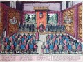 The Emperor Charles V 1500-58 announces the abdication of his power over the Low Countries to his son and heir Philip II 1527-98 before the court at Brussels on the 25th October 1555 - Franz Hogenberg