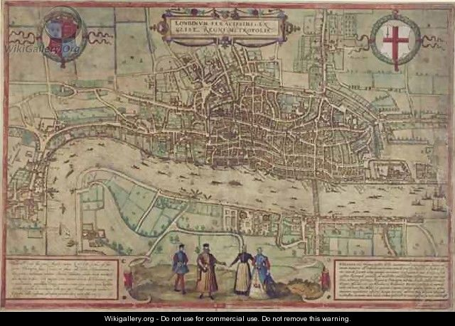 Plan of London from Civitates Orbis Terrarum - Franz Hogenberg