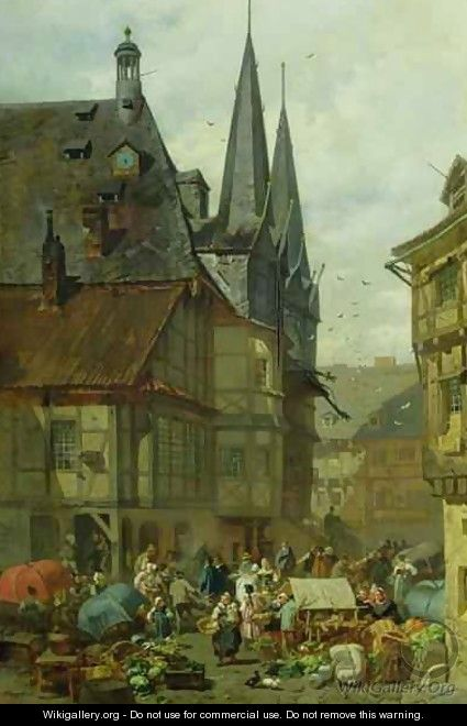 The Marketplace in Wernigerode - Charles Hoguet