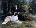 Girl With Dog - Heywood Hardy