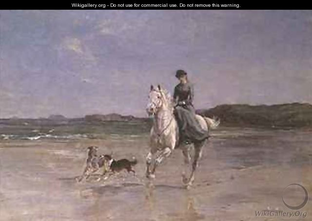 Horse and Rider on a windswept Beach - Heywood Hardy