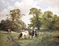 Cattle Grazing by a Path in a Wooded Landscape - James Duffield Harding
