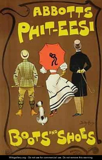Reproduction of a poster advertising Abbotts Phit Eesi Boots and Shoes - Dudley Hardy