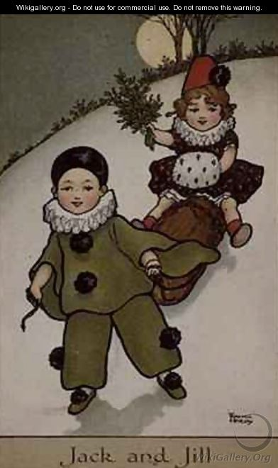 Jack and Jill Victorian card - Florence Hardy