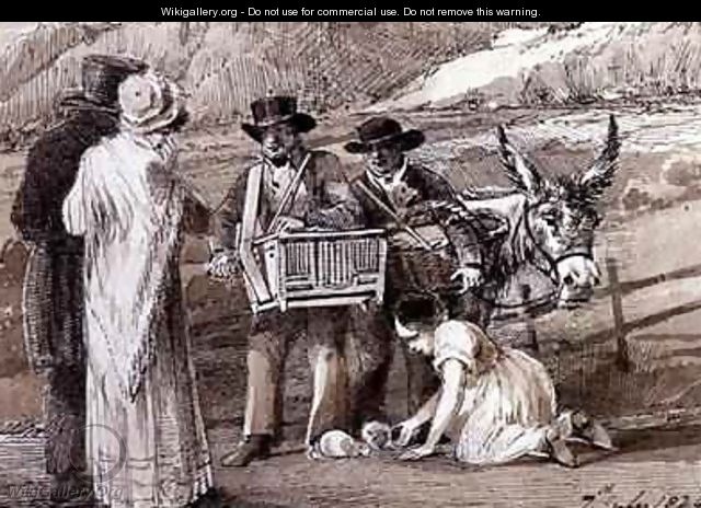 Two men selling guinea pigs one with an organ grinder - John Harden