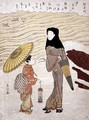 Lady and Maid Walking by a River - Suzuki Harunobu