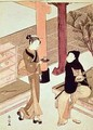 Osen of the Kagiya serving tea to a customer - Suzuki Harunobu