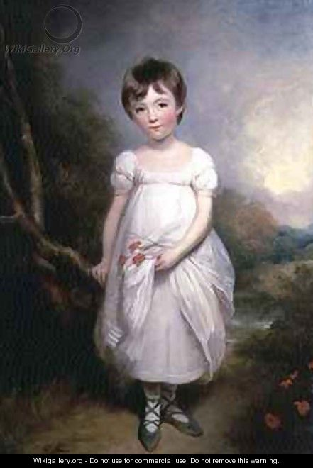 Portrait of a young girl in a white dress - George Henry Harlow