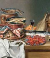 A Still Life of a Fish Trout and Baby Lobsters - Anton Friedrich Harms