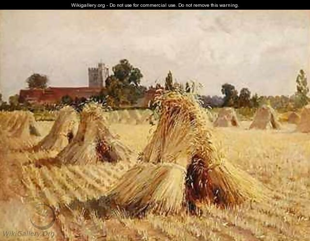 Corn Stooks by Bray Church - Heywood Hardy