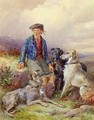 Scottish boy with wolfhounds in a Highland landscape - James Hardy Jnr