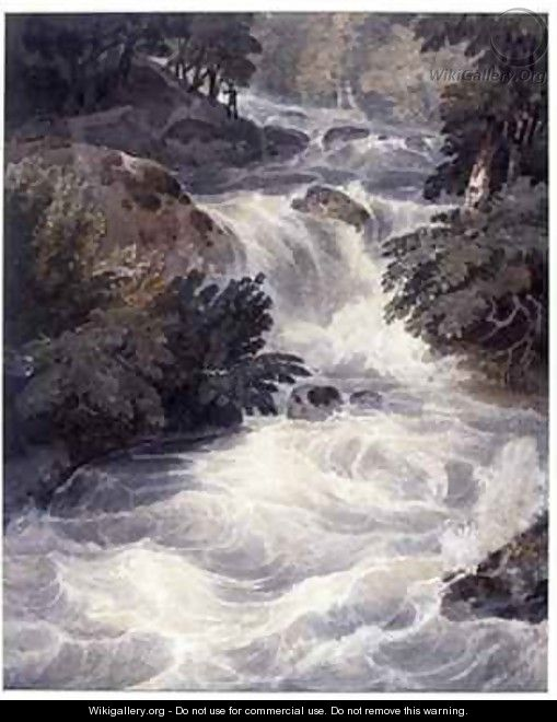 Waterfall at Ambleside seen through a window - William Havell
