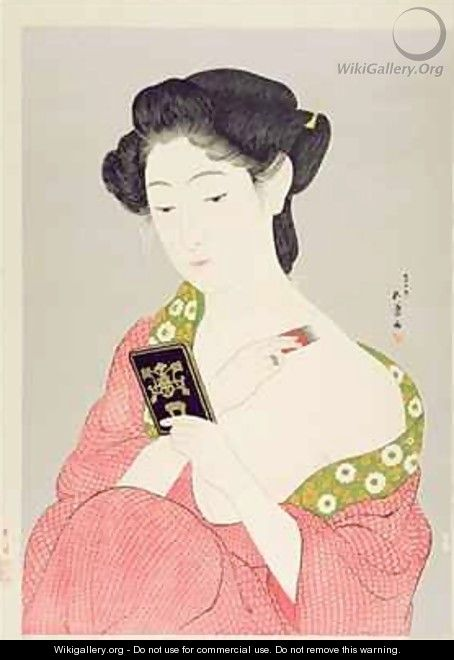 A Woman in Nagajuban Powdering her Neck - Goyo Hashiguchi