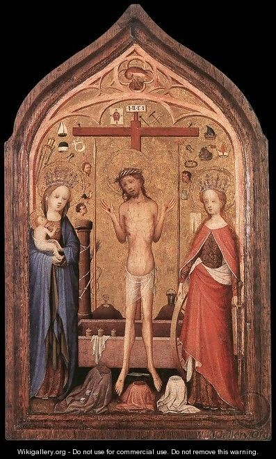 The Man of Sorrow with the Virgin and St Catherine - Master of Saint Veronica