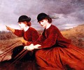 On the Downs Two Ladies Riding Side Saddle - James Hayllar