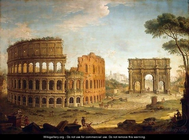 Rome View of the Colosseum and The Arch of Constantine - Antonio Joli