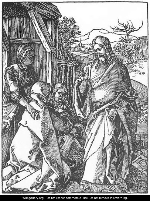 Small Passion 5. Christ Taking Leave of His Mother - Albrecht Durer