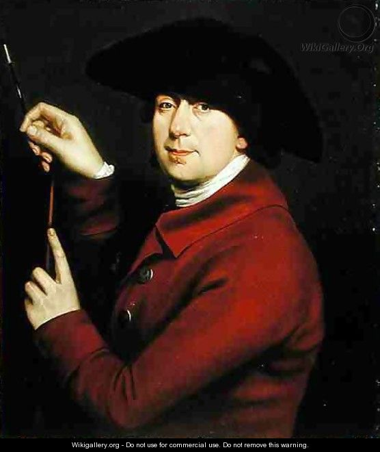 Self Portrait holding a mahlstick and brush - (after) Hayman, Francis
