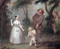 Peg Woffington as Rosalind with Celia and Touchstone in the Forest of Arden - (after) Hayman, Francis