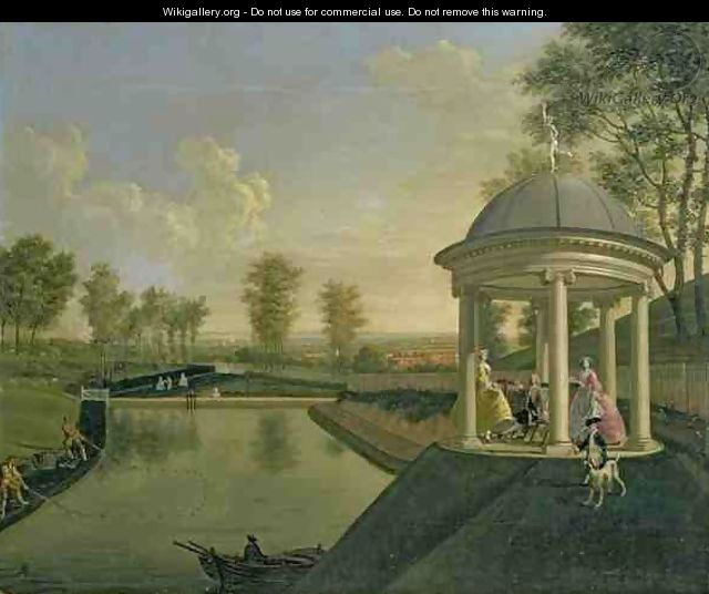 The Brockman Family at Beachborough Temple Pond with the temple in right foreground - Edward Haytley