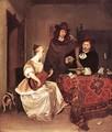 A Young Woman Playing a Theorbo to Two Men - Gerard Terborch
