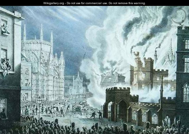 The Houses of Parliament on Fire - William Heath