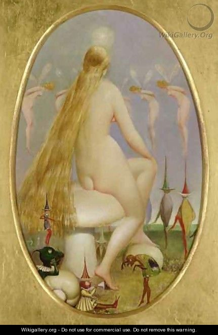 Fairy seated on a Mushroom - Thomas Heatherley