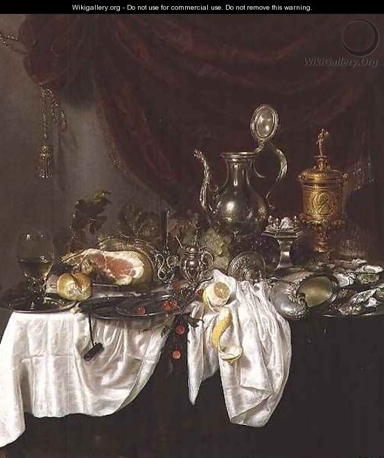 Still life with a ham overturned nautilus cup and oysters on a draped table - G.W. & Ring, P. de Heda
