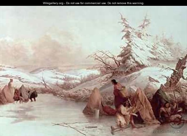 Spearing Fish in Winter - Seth Eastman
