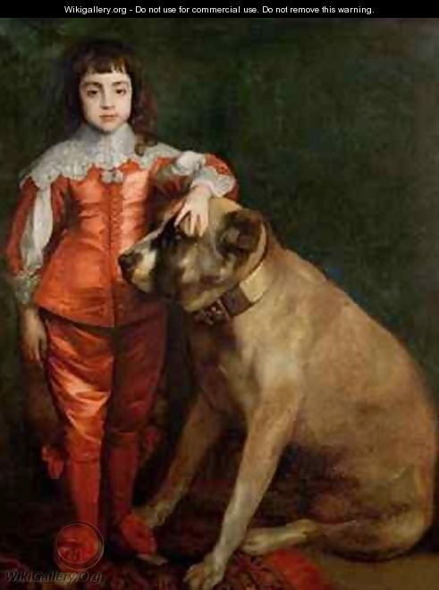 Full length portrait of Charles II as a boy with a mastiff - (after) Dyck, Sir Anthony van