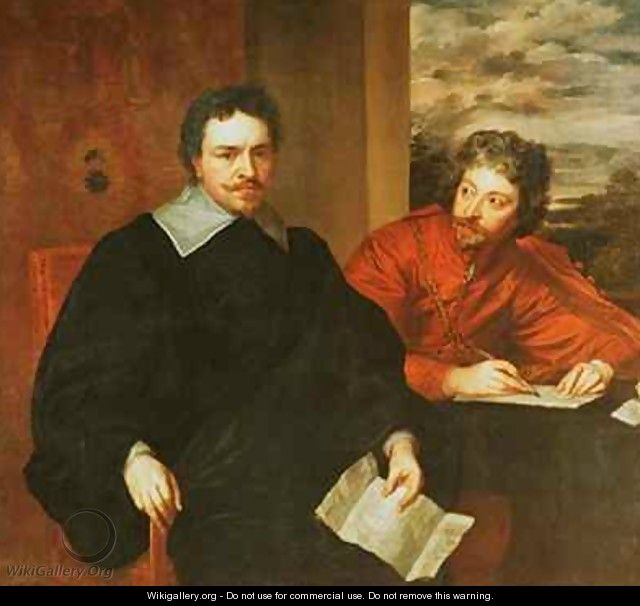 Thomas Wentworth Earl of Strafford 1593-1641 and his Secretary Sir Philip Mainwaring 1589-1661 - (after) Dyck, Sir Anthony van
