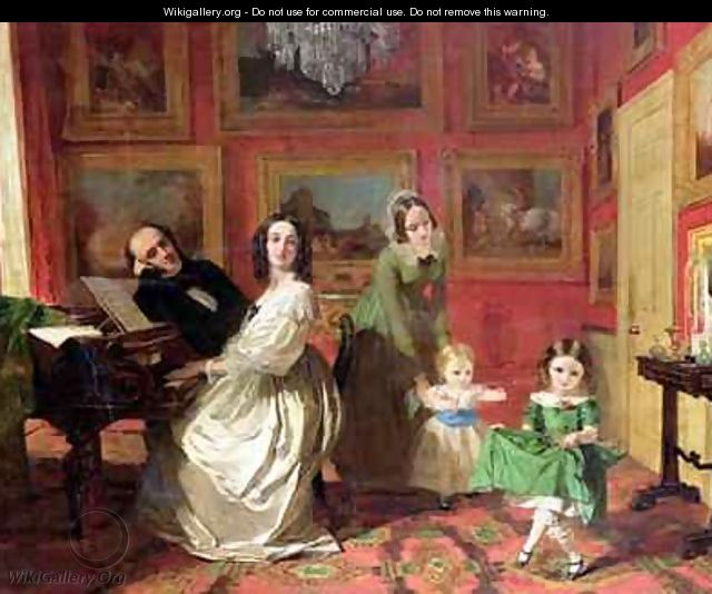 The Rev and Mrs Palmer Lovell with their daughters Georgina and Christina - Augustus Leopold Egg