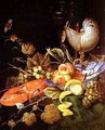 Still life with peaches pomegranate lobster grapes and butterflies - Ottmar The Elder Elliger