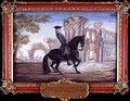 No 52 Le Bienvenu a dark bay horse of the Spanish Riding School performing a dressage movement - Baron Reis d' Eisenberg