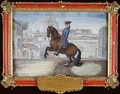 No 35 A Barbary bay horse of the Spanish Riding School performing a dressage movement in St Marks Square Florence - Baron Reis d' Eisenberg