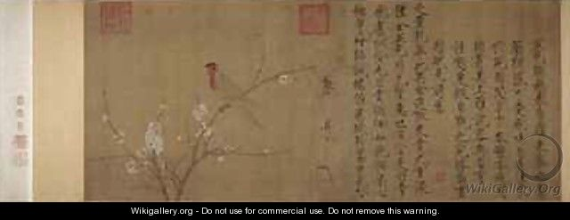 Five coloured Parakeet on a Blossoming Apricot Tree 2 - Huizong Emperor