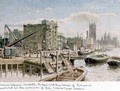 Riverside View of the Wharves between Lambeth Bridge and the Houses of Parliament - John Phillipp Emslie
